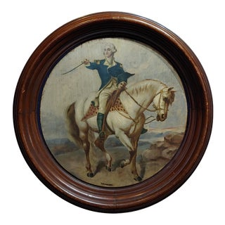 19th Century Americana Oil Painting of George Washington Taking the Salute at Trenton For Sale