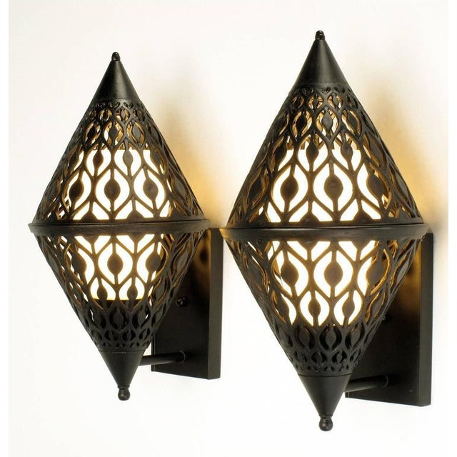 Metal Pair of Black Enamel Pierced Diamond Sconces with Internal Milk Glass Shades For Sale - Image 7 of 9