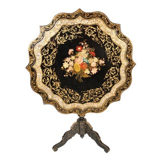 Napoleon III Style Mother of Pearl Inlaid Tilt Top Table For Sale