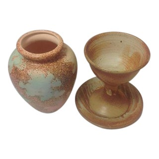 Studio Pottery Chalice & Plate With Vase/Urn