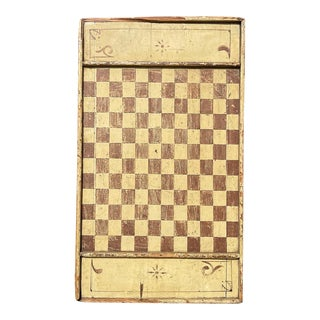 Antique Primitive Game Board Mustard Paint Lancaster County Pennsylvania Folk Art Affa Checker Board Wall Hanging For Sale
