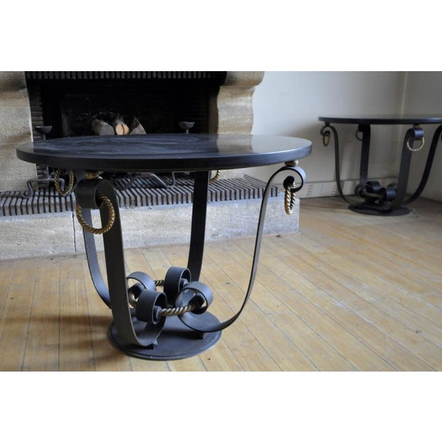 Raymond Subes Pair of Wrought Iron & Marble Top Coffee Table For Sale - Image 6 of 7