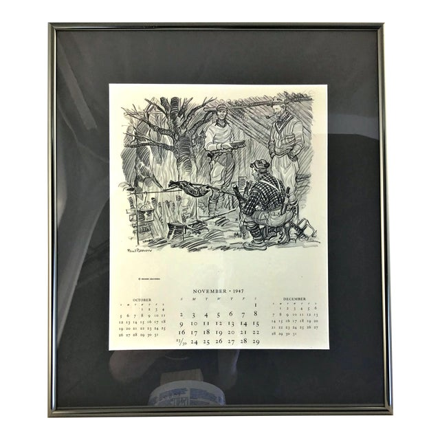 1947 Paul Desmond Brown for Brooks Brothers Calendar Print For Sale