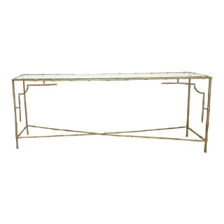French Mason Bagues Style Console | Brass and Glass | Faux Bamboo | Sofa Table For Sale