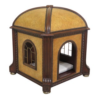 Maitland Smith Leather & Mahogany Dome Top Pet House For Sale