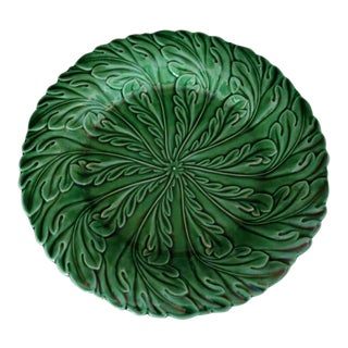 "Antique English Majolica ""Acanthus Leaf"" Green Glaze Plate"