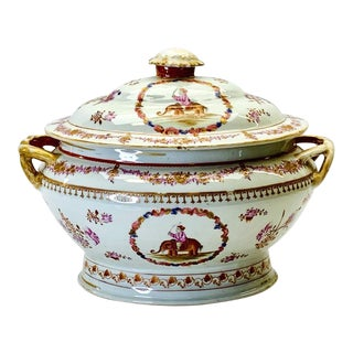 Antique Export Anglo Indian Covered Porcelain Soup Tureen With Gilt Work, Late 19th. Century (Chinese) For Sale