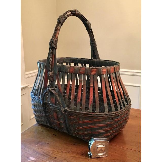 Asian Monumental Bamboo Basket Asian Ikebana For Sale - Image 3 of 8
