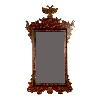 Red Laquered Mirror With Shaped Crest Terminating in Gilt Eagles For Sale