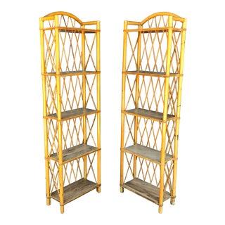 Mid Century Rattan Etagere Shelves- a Pair