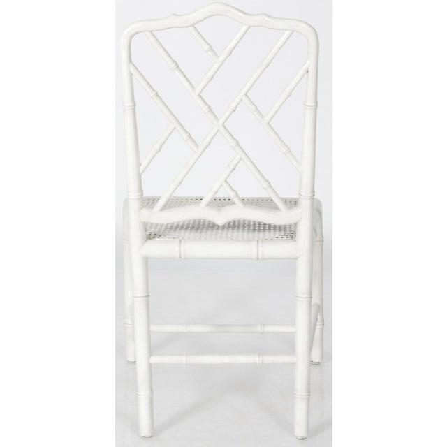 White Painted Faux Bamboo Side Chair - Image 7 of 8