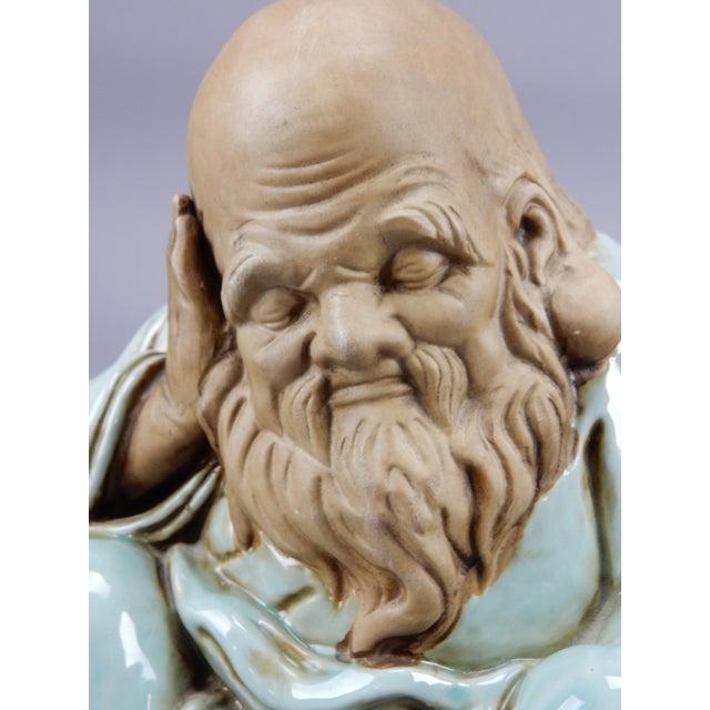 Incredible Japanese Kutani Celadon Glazed Fukurokuju Statue For Sale - Image 11 of 13