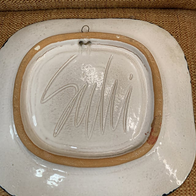Hand Painted Suki Diamond Rabbit Pottery Charger For Sale In New York - Image 6 of 8