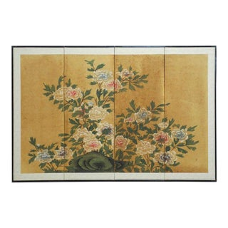 Japanese Four-Panel Floral and Foliate Byobu Screen