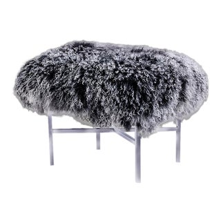 Pasargad's Mongolian Fur Ottoman For Sale