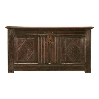 Original Rustic Antique French Carved Two-Panel Coffer For Sale