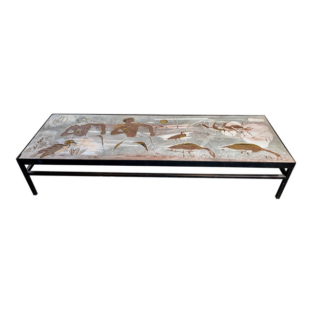 1960s Long Heavy Mid-Century Signed Stone Egyptian Scene Carved Coffee Table For Sale