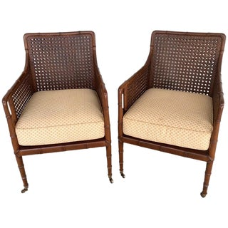 Pair of Baker Campaign Style Chairs, With Faux Bamboo Detail For Sale