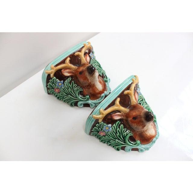 Ceramic Vintage Takahashi Porcelain Corbel Shelves- Pair of Black Forest Ceramic Deer For Sale - Image 7 of 8
