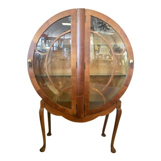1930s Art Deco Round Bar Drinks Cabinet Display Case Vitrine For Sale