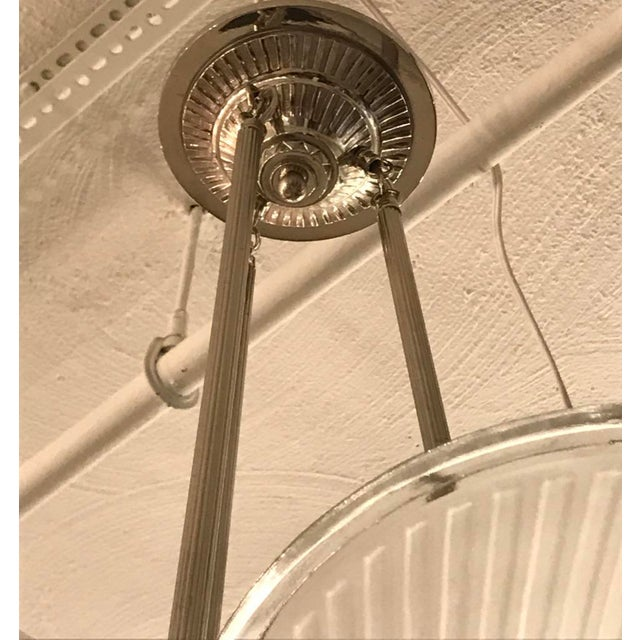 French Art Deco Ribbed Chandelier For Sale - Image 10 of 11