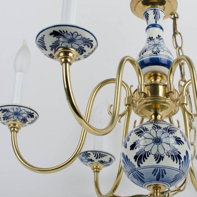 Delft Blue & White Ceramic 6 Light Chandelier For Sale - Image 5 of 5