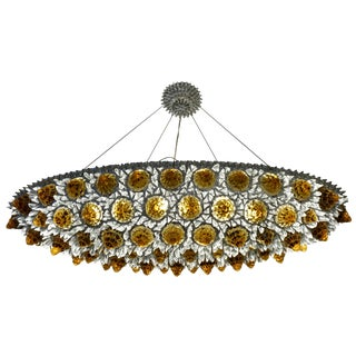 Contemporary Italian Amber Gold and Clear Glass Oval Silver Flush / Chandelier For Sale