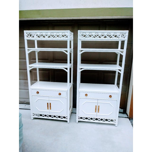 White Vintage Ficks Reed White Rattan Palm Beach Regency Etagere Tall Display Cabinets- a Pair For Sale - Image 8 of 8