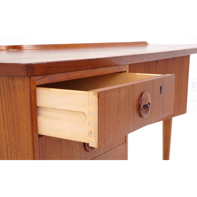 Brown 1950s Danish Modern Arne Vodder Teak Desk With Built in Bar For Sale - Image 8 of 10