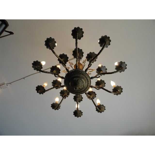 Brass Antique Decorative Ten-Arm Brass Chandelier For Sale - Image 8 of 11