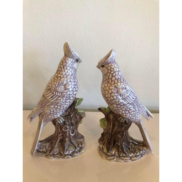 White Italian Ceramic Palm Beach Cockatoo Birds - a Pair For Sale - Image 8 of 11