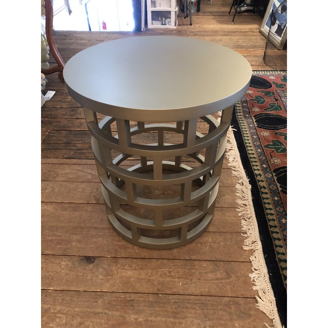 Silver Silver Contemporary Side Table For Sale - Image 8 of 8