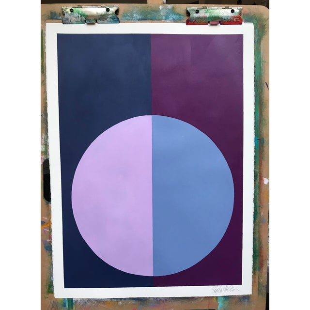 "Original ""Variation on a Circle: Violet and Indigo"" Painting - Image 2 of 5"