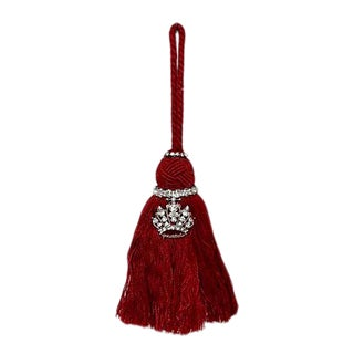 Vintage Mid-Century French Crown Tassel Ornament For Sale