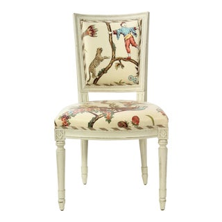 Brunschwig & Fils Swedish Country Vintage Chinoiserie Glazed Cotton Chintz Side Chair