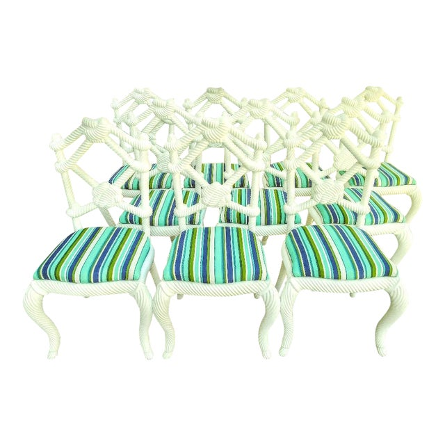Set of 10 Stunning Gloss White Rope Knot Nautical Coastal Twisted Dining Room Chairs W/Blue Striped Fabric For Sale