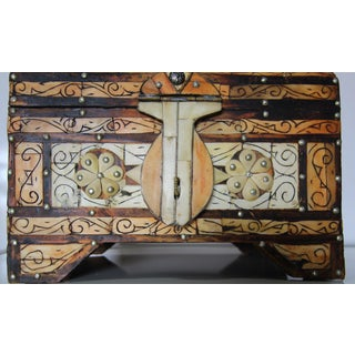 Moroccan Amber Wood Bone Inlay Hand Carved Jewelry Box Preview