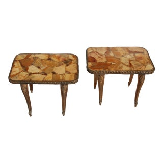 1960s Hollywood Regency Agate Side Tables - a Pair For Sale