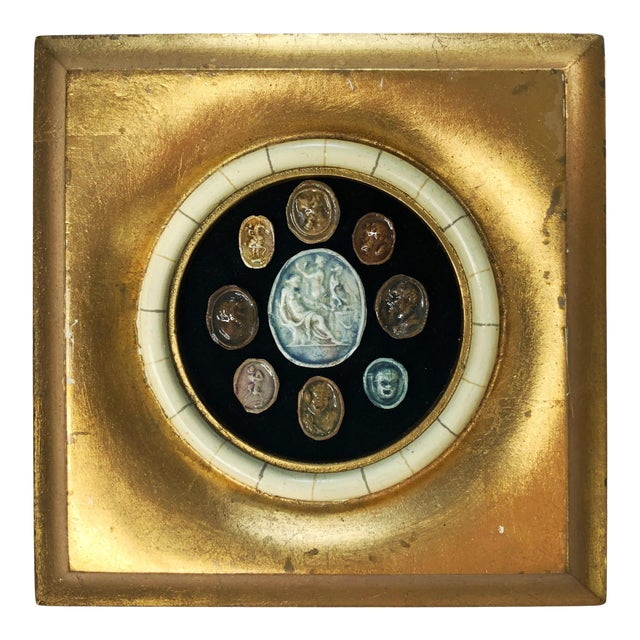 18th Century Grand Tour Glazed Cameos in Gilded Frame For Sale