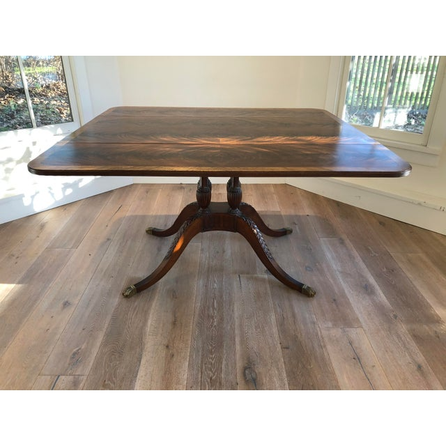 Brown 20th Century American Classical Drop-Leaf Library Table For Sale - Image 8 of 10