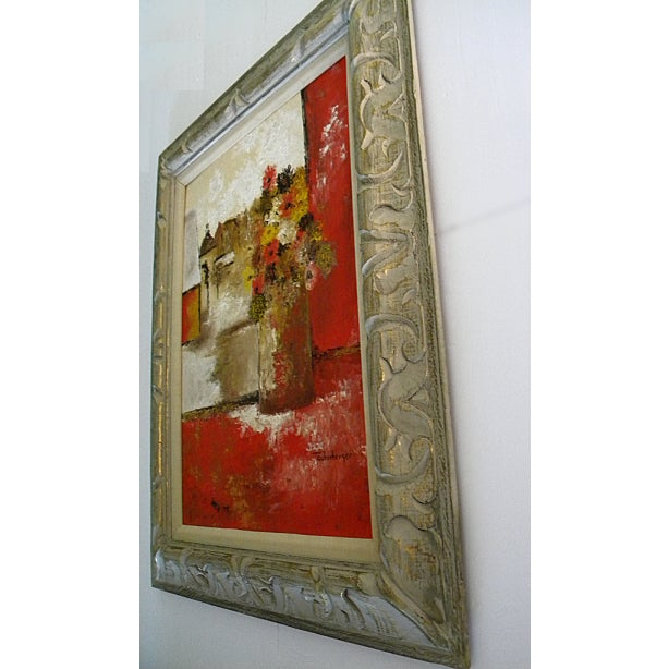 1960s Large Mid-Century Still Life Signed Framed Painting For Sale - Image 5 of 10