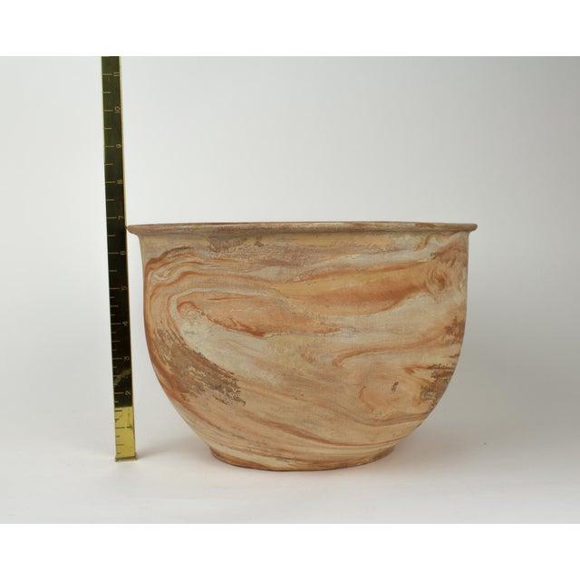 Large Vintage Orange Terra Cotta Swirl Decorative Bowl Planter For Sale - Image 12 of 13