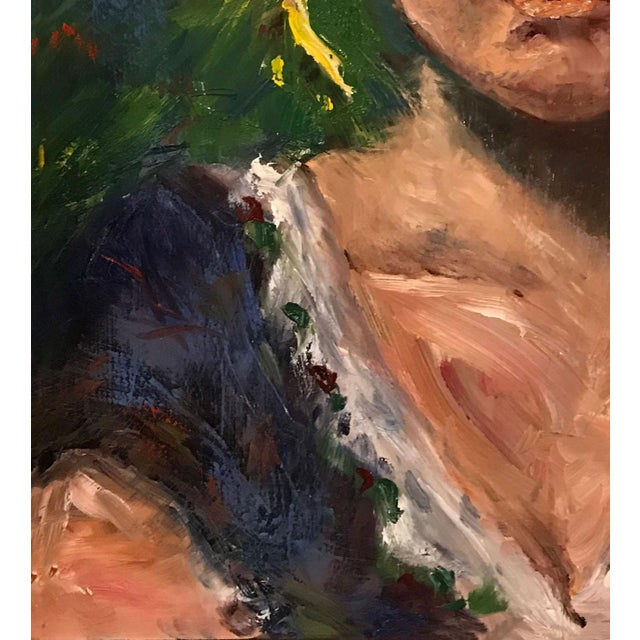 Contemporary 'The Barmaid' Original Oil Signed & Framed Painting For Sale - Image 3 of 13