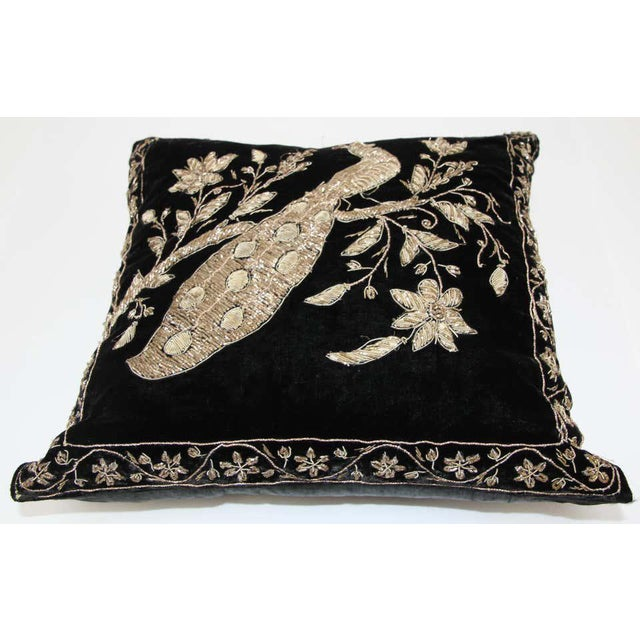 Black Moorish silk velvet pillow hand embroidered with gold metallic threads and sequins depicting a royal peacock on a...