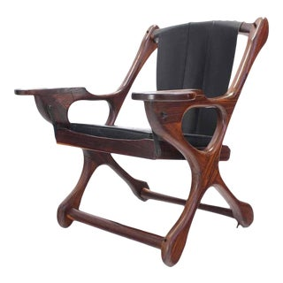 Heavy Rosewood Frame Leather Upholstery Lounge Chair For Sale