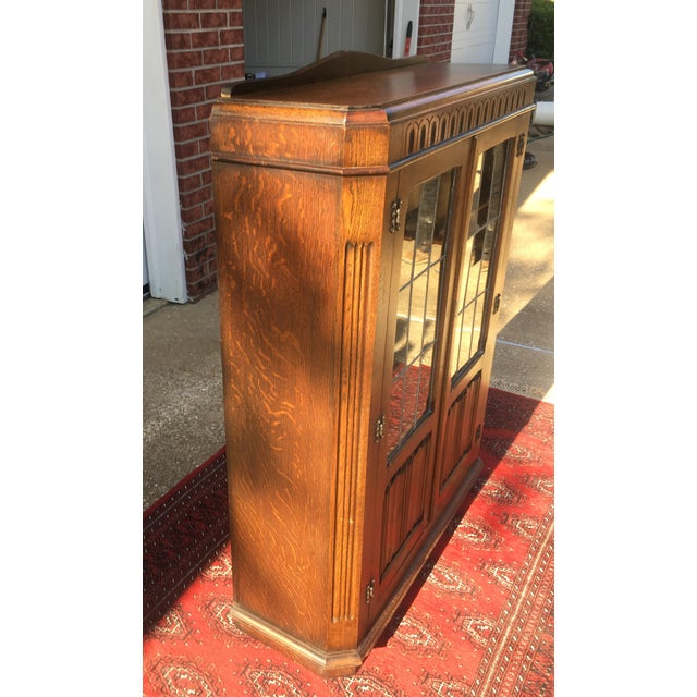 Art Deco Mid-Century Carved Oak Leaded Glass Bookcase For Sale - Image 3 of 10