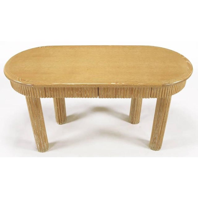 Custom Oval Cerused Oak Writing Desk with Reeded Legs and Apron - Image 2 of 8