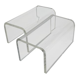 Vintage 1960s-70s Lucite Waterfall Low Tables-A Pair