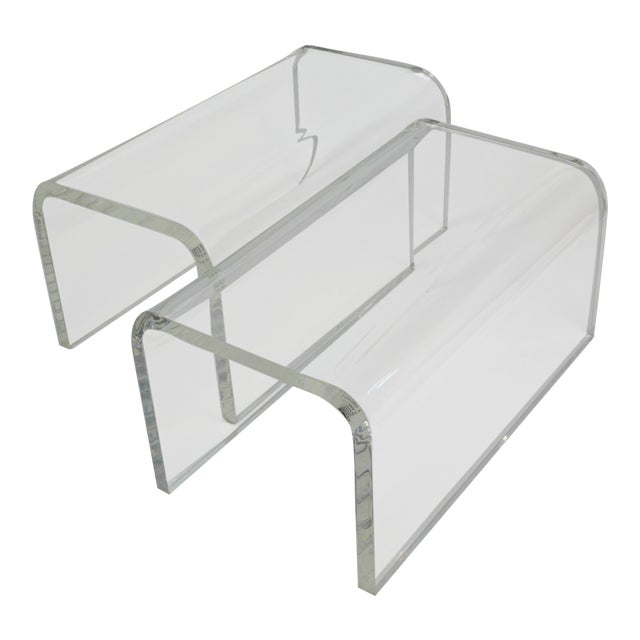 Vintage 1960s-70s Lucite Waterfall Low Tables-A Pair For Sale