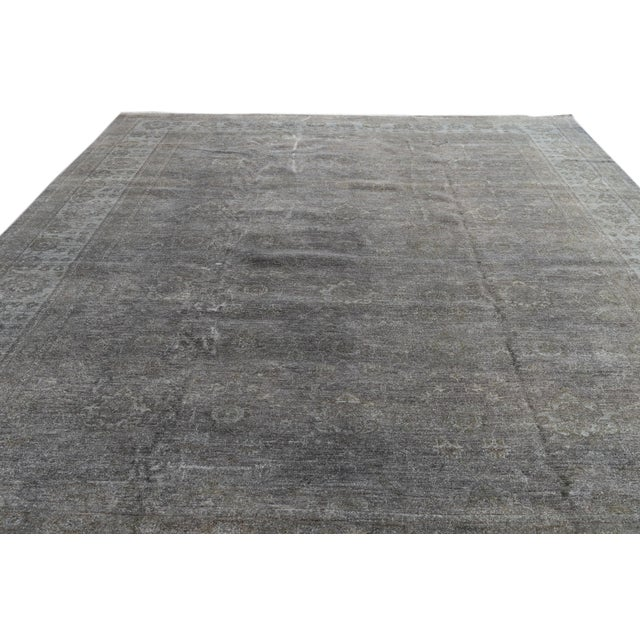 Contemporary Grey Overdyed Wool Room-Size Rug For Sale - Image 9 of 12